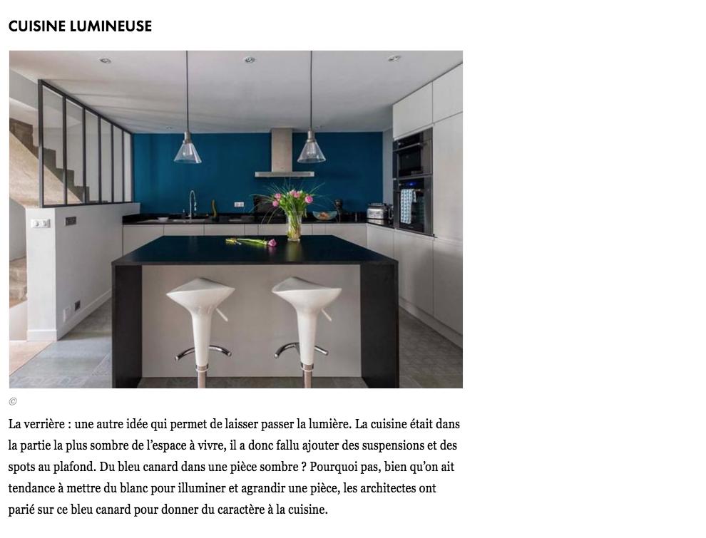 rénovation - cuisine - gris - bleu - béton - carrelage graphique