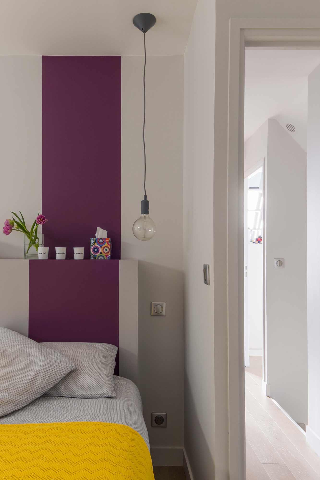 rénovation - chambre - tête de lit sur mesure - gris - violet