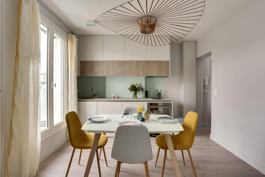 rénovation - appartement Paris - Vertigo - vert - cuisine sur mersure