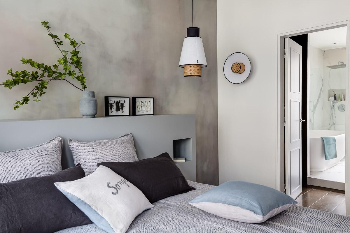 Rénovation - chambre suite parentale - gris - architecte d'intérieur -