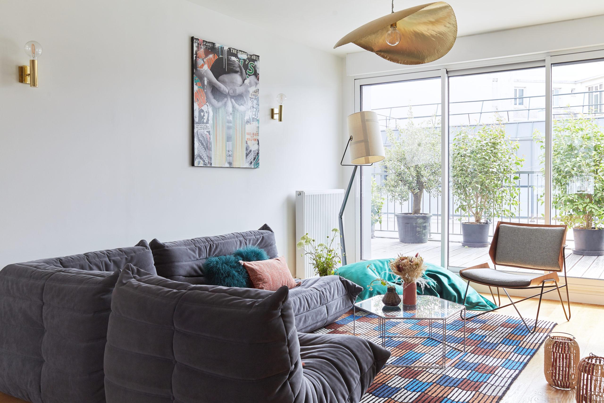 Rénovation - séjour salon - verrière- blanc et bleu - architecte d'intérieur